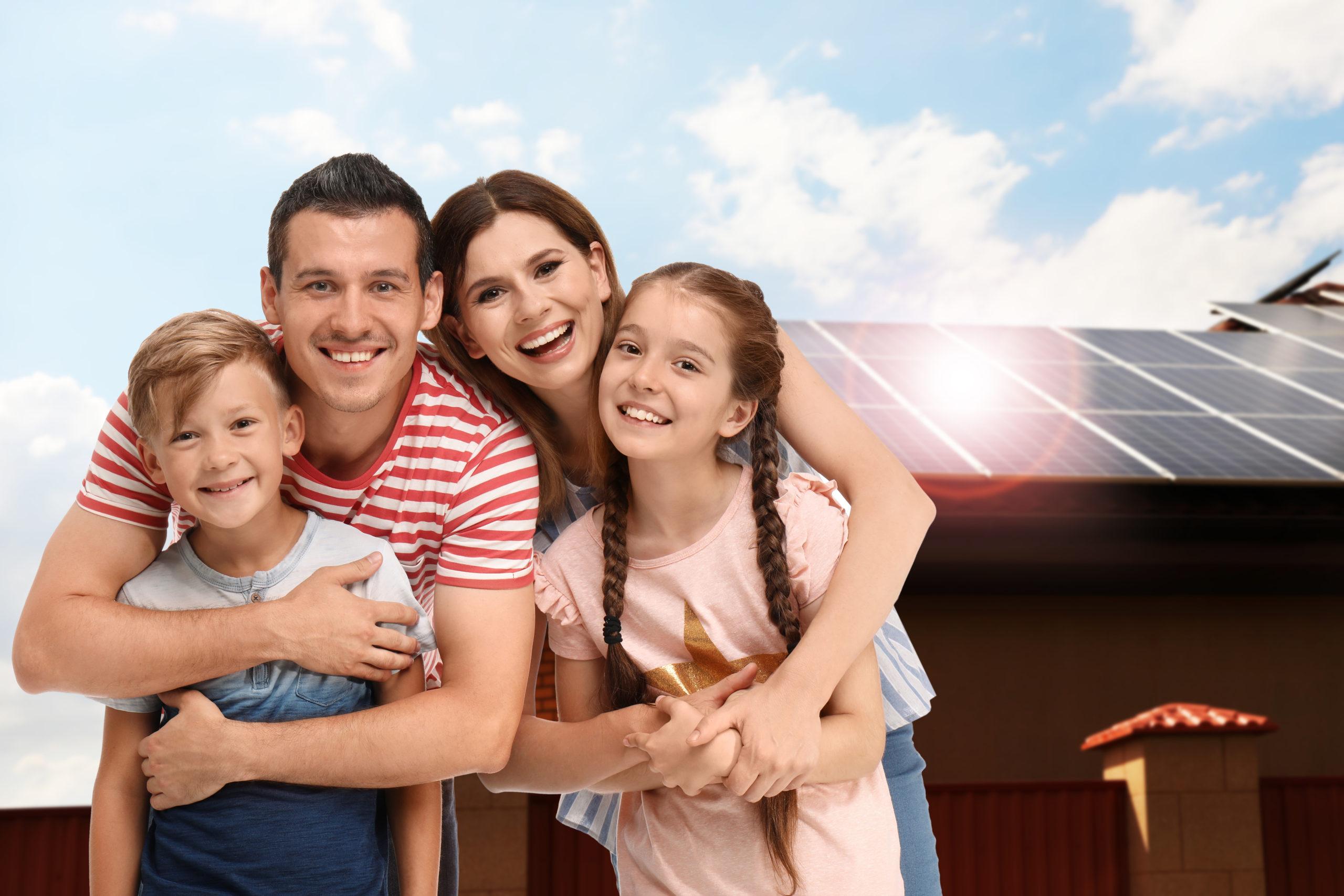 solar house happy family